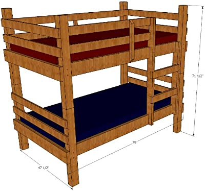 Bunk Bed Plans, Rustic Twin