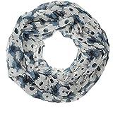 AdoniaMode Damen Loop Schlauch-Schal Hals-Tuch luftig leicht Blumenbeet Muster 72-01 Rauchblau/Creme