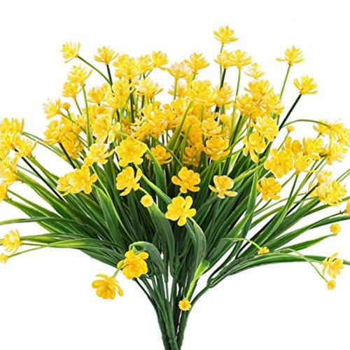Blumen Sträucher Künstliche (winomo 4Künstliche Blumen Faux gelb Narzissen Greenery Sträucher Pflanzen Büsche Blumentopf für drinnen Außen Aufhängen Hochzeit Decor)
