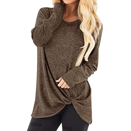 iHENGH Damen Herbst Winter Bequem Lässig Mode Frauenmode Lose Langarm Oansatz Lässige Solid T Shirt Bluse Tops(M,Kaffee)