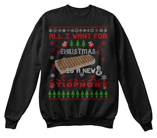 Bequemer Pullover Damen / Herren / Unisex 2XL Xylophone Ugly Christmas Sweater Shirt Schwarz