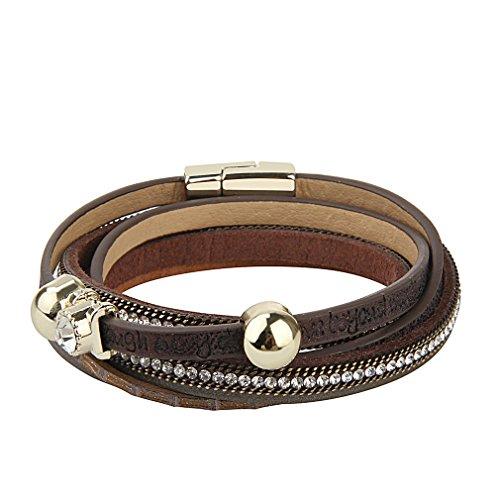 (JOYMIAO Frauen Mode Lederarmband Handschlaufe Armreif Strass Manschette Armband für geschenke für mädchen Ideen (Braun))