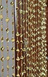 #8: Pindia Strings Bead Curtain Kite Fancy Sparkling Door Window String Beads Thread Sheer shear rod room Hanging Solid Golden 7 x 4 Ft