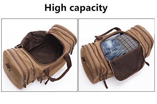 Aidonger Unisex Canvas Großräumige Handtasche Schultertasche Reisetasche (Schwarz) Khaki