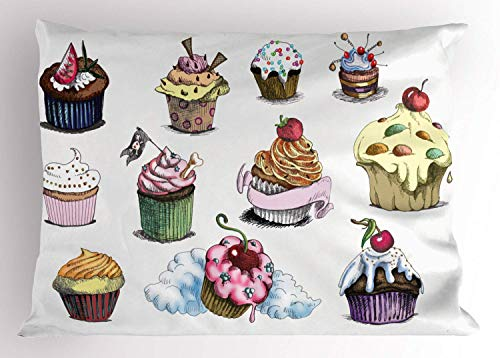 Dessert Pillow Sham, Yummy Cupcake Medley with Sprinkled Frosting and Cherry on Top Sketchy Illustration, Decorative Standard King Size Printed Kissenbezug Pillowcase, 18 X 18 Inches, Multicolor -