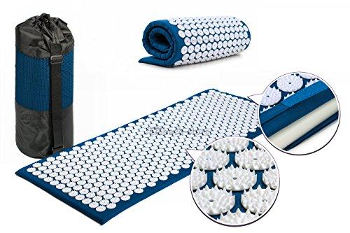 Akupressurmatte XL 120x50 cm Massagematte Iplikator Akupunktur 18900 Spitzen mit Tragetasche (blau)