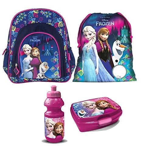 Frozen Eiskönigin Disney 4 Teile Set Rucksack Tasche Kindergarten Kindergartenrucksack mit Sticker von Kids4shop (Tasche Anna)