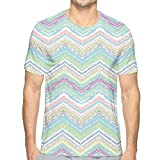 K0k2t0 3D Printed T Shirts,Hand Drawn Ethnic Motif Chevron Zigzag Lines Tribal Design Retro Grunge Aztec Art XXL