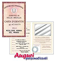 Idea Regalo - Biglietto auguri carta d'identità della nonna