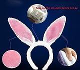 YYGIFT® Hasen Kostüm Hase Ohren Haarreife mit LED Beleuchtung als süßes Häschen und sexy Bunny zu Halloween Karneval Fasching Party Polterabend Junggesellenabschied usw. Einheistgröße (Rosa) -
