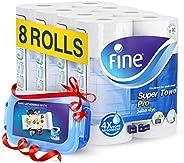 Fine Sterilized Kitchen Super Towel Pro, 70 Sheets - 3 Ply, 8 Rolls + Food Container ' 1 U