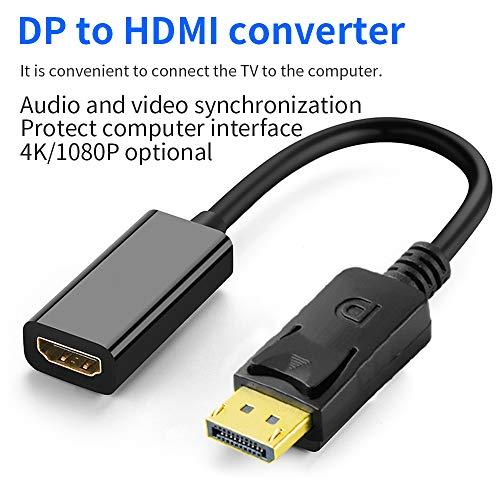 NJY Hochwertiger DisplayPort zu HDMI Adapter, NJY DP Display Port zu HDMI Konverter Stecker zu Buchse Vergoldetes Kabel Kompatibel für Lenovo Dell HP und andere Marken -