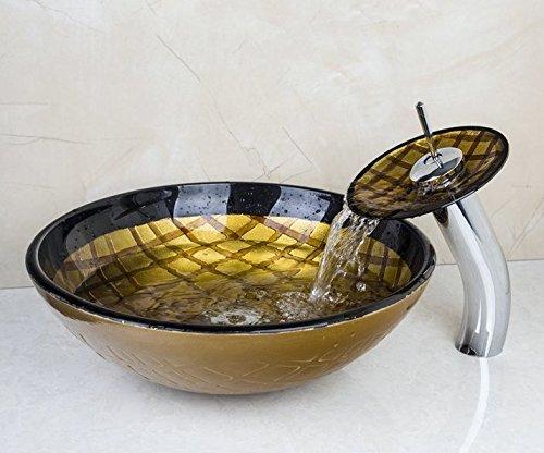 Gowe NEUF Cascade Chromé Robinet de lavabo + peint à la main en verre trempé de toilettes Lavabo évier de bain Bouquet Laiton robinet mitigeur