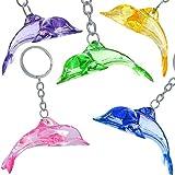German Trendseller® - 6 x porte-clés dauphin┃pendentif bijoux┃ en optique cristal ┃mélange de couleurs┃ petit cadeau┃l'anniversaire d'enfant