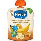 Nestl Naturnes - Bolsita de Pltano, Naranja y Galleta - A partir de 6 meses - 90 g - [pack de 8]