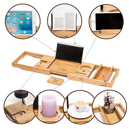 Premium Badewannenablage mit Buchstütze und Glashalter von Prime Art Wood | Badewannenbrett aus naturbraunem Bambus zum Ausziehen 74,5-108,5x23cm | inkl. GRATIS Seifenablage - 7