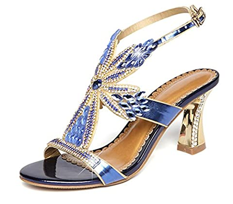 SZXC Womens Slip On Diamond Bridal Stiletto Low Mid Heels Sandales Mariage , blue , 40