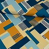 Stoffe Werning Viskosejersey Grafisches Muster beige blau