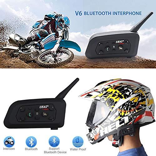 iBellete V6 PRO Interfono Casco Bluetooth per Moto, Compatibilità Navigatore e MP3, Scocca Impermeabile, Massimo 6 Piloti in Un Raggio di 1200m, Interfono con Cuffia e Microfono