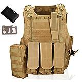 QHIU Gilet tattico Protezione Camouflage Regolabile Panciotto Giubbotti Militare Assault Combat Molle Vest per Softair Paintball Caccia CS con Strumento di Sopravvivenza di Carta di Credito