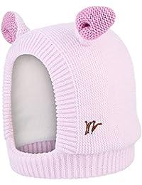 La Vogue Bonnet Enfant Bébé Fille Protection Oreille Tricot Chapeau Cagoule  Epais Polaire Visage Hiver Rose 73a288bded0