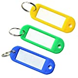 LIFECART 30 pcs Plastic Key Fobs Luggage ID Tags Labels Key rings with Name Cards-Random Color