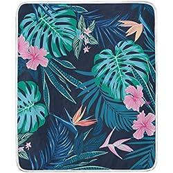 DOSHINE Überwurfdecke, Tropische hawaiianische Blumen-Blätter, weich, leicht, wärmend, 127 x 152 cm, für Sofa, Bett, Stuhl, Büro