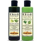 Khadi Natural Herbal Paraben Free Amla-Bringraj Shampoo and Aloevera Conditioner Combo Pack (Each 200 ml)