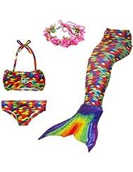 Superstar 4PCS Girls Mermaid Tail Swimsuit Princess Bikini Swimwear With Wreath