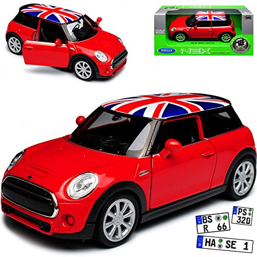 Mini Cooper S F56 New Hatch 3 Türer Rot mit Union Jack Flag Flagge Dach Ab 2014 ca 1/43 1/36-1/46 Welly Modell Auto