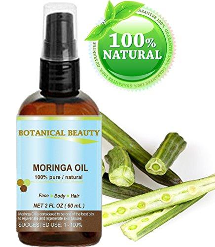 Moringa Öl - 100% rein natürlich unverdünnt kaltgepresstes Trägeröl - 60ml. Für Haut Haare Lippen Nagelpflege - nährstoffreiches, hochdosierte Palmitoleinsäure, Ölsäure und Linolsäure - feuchtigkeitsspendende Fettsäuren und Vitamin A, C und E. (Feuchtigkeitsspendende Nagelpflege)
