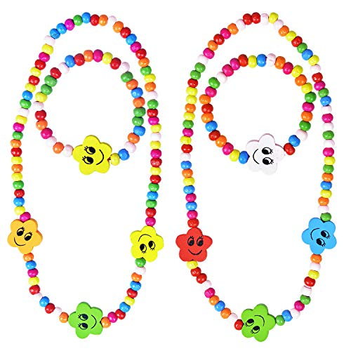 Larcenciel Kinder Schmuck Regenbogen Halskette Armband Kleine Prinzessin Stretch Holzperlen Schmuck-Set für Kinder Spielen vorgeben Dress Up (Star)