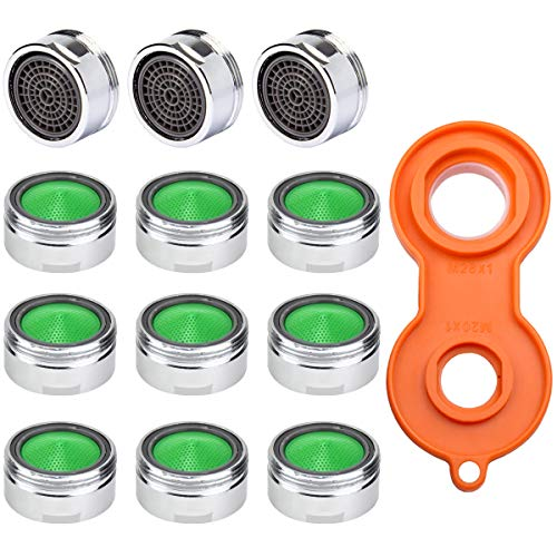 Strahlregler M24, 12 Stück Wasserhahn Sieb Düse Einsatz Mischdüsen, Ersatzteil Luftsprudler Wasserhahn mit Universaler Wasserhahn Belüfterschlüssel für Wasserhähne