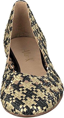 Allan K DAIBA Fatto a Mano Flecht-Leder-Schuhe con Suola in Cuoio Donna Topazio