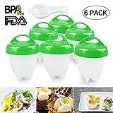 Lovne Egg Boiler Série 6 Cuiseurs à Oeufs Egg Cooker Maker Multifonctionnel Set Moules avec Séparateur d'Oeufs, Silicone Antiadhésive FDA (Vert)