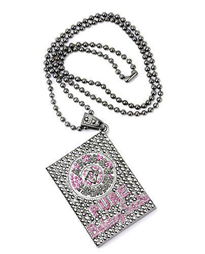 arm-hammer-hematite-pink-tone-iced-out-pendant-w-864cn-ball-chain