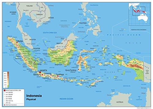 Indonesien Physikalische Planokarte-Papier laminiert A0 Size 84.1 x 118.9 cm (Karte Indonesien)