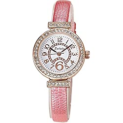 Fashion Rhinestones PU Strap Quartz Women Wrist Watch,Pink
