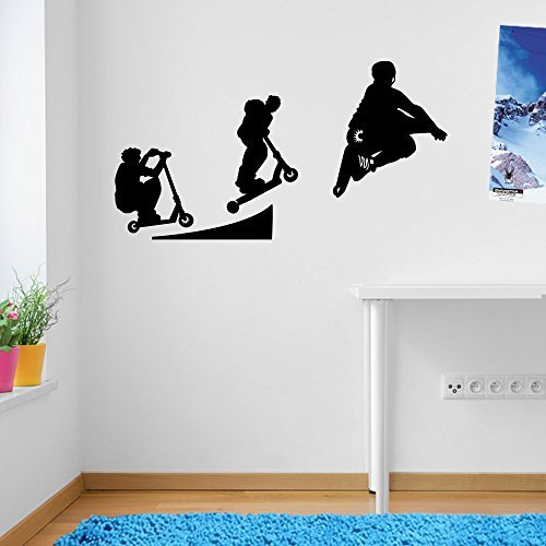 Stunt Scooters Sports Evolution Scotter Style 6 Wall Decorations Window Stickers Wall Decor Wall Stickers Wall Art Wall Decals Stickers Wall Decal Decals Mural Décor Diy Deco Removable Wall Decals Colorful Stickers by Vinyl Concept