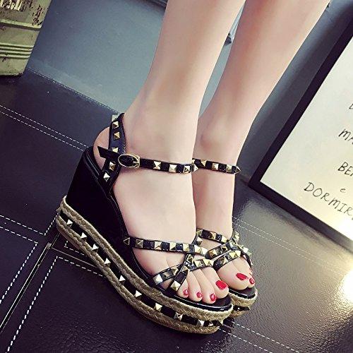 Lgk & fa sandali da donna estate signora sandali in estate sandali per estate e sandali per studenti in estate Black