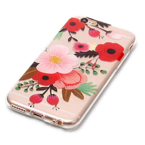 Cover iPhone 6 Plus/6S Plus, GrandEver Morbida Trasparente Ultra Slim Gel Silicone TPU Custodia Protettiva Back Shell Case per iPhone 6 Plus/6S Plus - Piuma Fiore 2