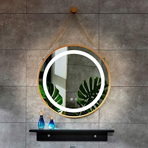 Wandspiegel Hochwertiger LED, Rund, Mit Riemen, Gold | Schwarzer Rahmen, Schmiedeeisenmaterial, Durchmesser 60 cm, Doppelberührungsschalter + Entnebelung, Weißes Licht