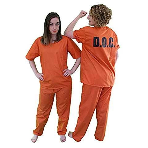 Orange or Beige Ladies Prison Suit (Men: Large, Orange) by The Cosplay Company