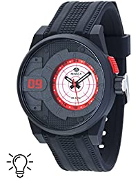 Reloj Marea Caballero B40180/3 Caucho negro ciculo en efera rojo
