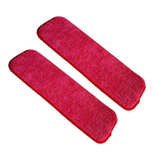 OUNONA 2 STÜCKE Spray Mopp Mikrofaser Mopp Kopf Waschbar Ersatz Reinigung Pads für Reinigung Trockene oder Nasse Böden (rot)