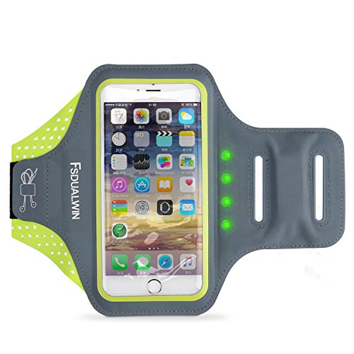 FSDUALWIN-IPhone-7-Puls-Bracciale-con-LED-di-sicurezza-self-generating-iPhone-6-6s-Plus-Braccio-di-braccio-sportivo-55-pollici-Verde