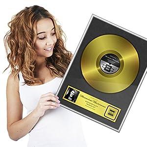 Goldene Schallplatte als personalisierte Urkunde mit Luxus Alu Rahmen - Persönliches Geschenk 46 x 36 cm