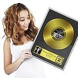 Goods & Gadgets Goldene Schallplatte als personalisierte Urkunde mit Luxus Alu Rahmen - Persönliches Geschenk 46 x 36 cm