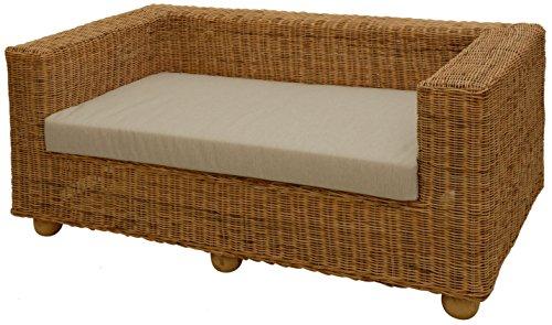 Rattan-Sofa 2-Sitzer LOUNGE aus ungeschältem Naturmaterial inkl. Sitzpolster Beige, Couch aus echtem Rattan
