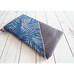 nelomi Maßanfertigung Handytasche Handyhülle mit Extrafach Blätter blau grau für jedes Handymodell